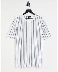 New Look Белая Oversized-футболка В Синюю Полоску -темно-синий