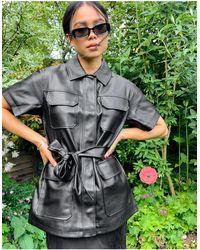 TOPSHOP - Short Sleeve Leather Look Shirt - Lyst
