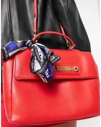 Love Moschino Satchel Bag With Scarf - Red