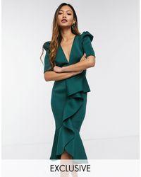 True Violet Зеленое Платье Миди С Пышными Рукавами, Глубоким Вырезом И Оборками Спереди -зеленый