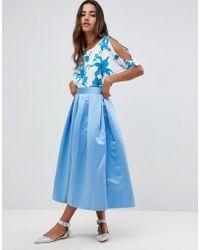 Closet Pleated Midi Skirt - Blue