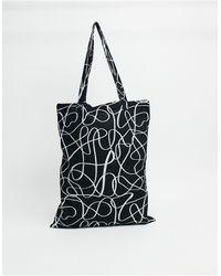 ASOS Tote bag épais à imprimé abstrait - Noir