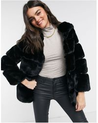 River Island Hooded Faux Fur Coat - Black
