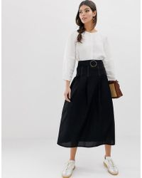 ASOS High Waist Midi Skirt With Tortoise Shell Buckle And Contrast Stitching - Black