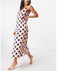 Y.A.S - Эксклюзивная Ночная Рубашка Из Атласа Розового Цвета С Темно-синим Принтом В Горошек -многоцветный - Lyst