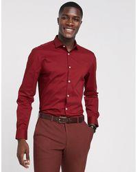 Moss Bros Moss London Slim Fit Shirt - Red
