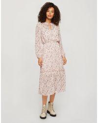 Miss Selfridge Floral Print Dobby Midi Dress - Pink