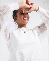 River Island Organza Sleeve Shirred Blouse - White