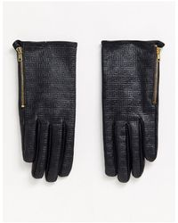 ASOS Leather Monogram Gloves With Touch Screen - Black