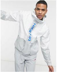 Nike Бело-серая Тканевая Куртка С Капюшоном Air-серый