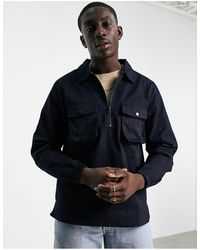 Bolongaro Trevor Double Pocket Twill Overshirt - Blue