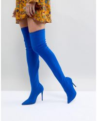 River Island | Pointed Toe Heeled Over The Knee Boots | Lyst