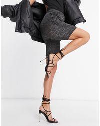 Fashionkilla Glitter Ruched Side Bodycon Short - Grey