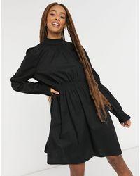 Monki Черное Хлопковое Платье Мини Со Сборками Maud-черный