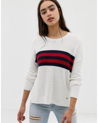 Hollister - Oversized Jumper With Stripe Panel - Lyst