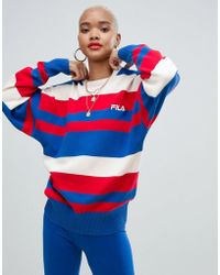 Fila - Oversized Jumper With Chest Logo In Stripe Knit - Lyst