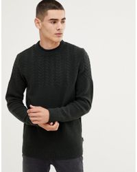 Barbour Crastill Lambswool Cable Crew Neck Jumper In Green
