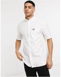 Fred Perry Белая Оксфордская Рубашка С Короткими Рукавами -белый