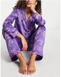 Chelsea Peers Пижамный Комплект Из Брюк И Рубашки Из Атласа Фиолетового Цвета С Принтом -голубой - Синий