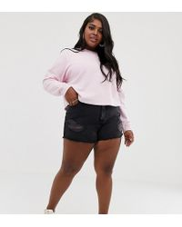 ASOS Asos Design Curve Recycled Denim Aldenham High Rise Shorts With Raw Hem And Rips In Washed Black