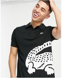 Lacoste Футболка-поло С Крупным Логотипом В Виде Крокодила -черный Цвет