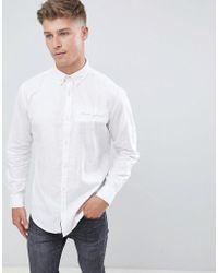 Jack & Jones - Originals Slim Fit Linen Mix Shirt With Roll Up Sleeve Detail - Lyst