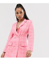 Boohoo Exclusive Blazer Dress In Pink Check