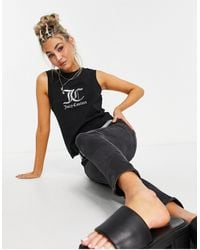 Juicy Couture High-neck Tank Top With Logo - Black