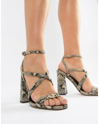 7b116dbd6a2 ASOS - Home Girl Block Heeled Sandals In Snake - Lyst