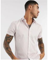 TOPMAN Short Sleeve Striped Shirt - Pink
