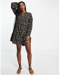 Object Nina Printed Mini Dress - Black