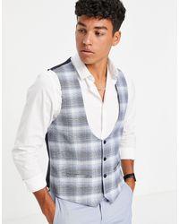 TOPMAN Skinny Fit Check Waistcoat - Blue