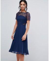 ASOS - Asos Lace Insert Panelled Midi Dress - Lyst