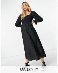 New Look Shirred Textured Midi Dress - Black