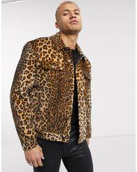 ASOS Faux Fur Leopard Print Western Jacket - Brown