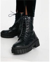 Public Desire Черные Ботинки На Толстой Платформе Со Шнуровкой Omega-черный Цвет