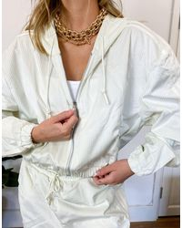 adidas Originals 'comfy Cords' Velvet Corduroy Oversized Zip Through Hoodie - White