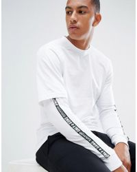Only & Sons - Long Sleeve T-shirt With Faux Layer Detail And Arm Stripe - Lyst