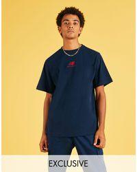 New Balance Темно-синяя Футболка С Логотипом - Синий