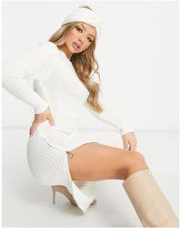 Naanaa Zip Side Slit Midi Jumper Dress With Matching Headband - White