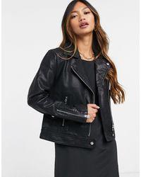 TOPSHOP Faux Leather Biker Jacket - Black