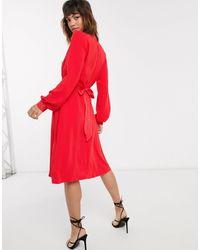 Closet Wardrobe High Neck A-line Dress - Red