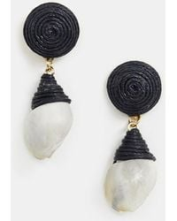 ASOS - Earrings With Thread Wrapped Faux Shell Drop - Lyst
