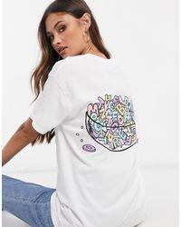 New Love Club T-shirt oversize con stampa sul retro con lettere di cereali - Viola