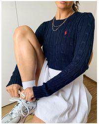 Polo Ralph Lauren Темно-синий Вязаный Свитер С Логотипом В Виде Лошади