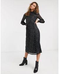 Oasis Star Foil Mesh Midi Dress - Black