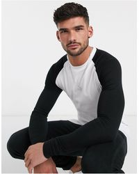 ASOS Long Sleeve Muscle Fit Raglan T-shirt With Crew Neck - Black