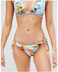 River Island Bas de bikini à rayures et fleurs avec nouettes - Bleu