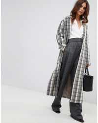 Fashion Union - Oversized Smart Coat In Check - Lyst