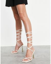 SIMMI Shoes Simmi London Baylee Ankle Tie Gold Heels - White